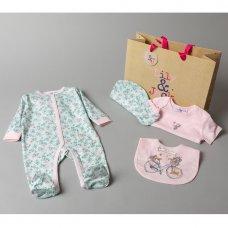 V20956: Baby Girls Floral 6 Piece Mesh Bag Gift Set (NB-6 Months)