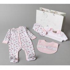 V20957: Baby Girls Smocked Floral 6 Piece Mesh Bag Gift Set (NB-6 Months)
