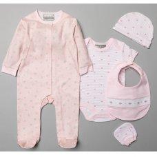 V20961: Baby Girls Floral  Print 6 Piece Mesh Bag Gift Set (NB-6 Months)