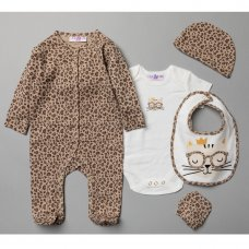 V20963: Baby Girls Leopard Print 6 Piece Mesh Bag Gift Set (NB-6 Months)