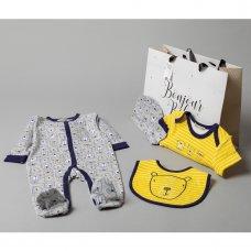 V20964: Baby Boys Bear 6 Piece Mesh Bag Gift Set (NB-6 Months)