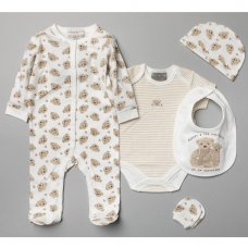 V20975: Baby Unisex Teddies 6 Piece Mesh Bag Gift Set (NB-6 Months)