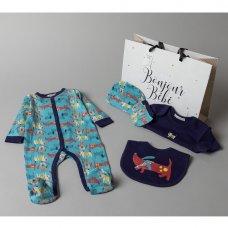 V20978: Baby Boys Dogs 6 Piece Mesh Bag Gift Set (NB-6 Months)