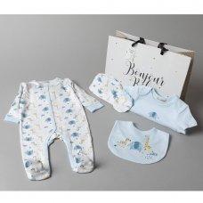 V20979: Baby Boys Safari 6 Piece Mesh Bag Gift Set (NB-6 Months)