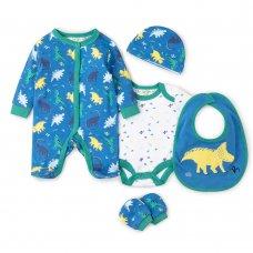 V20980: Baby Boys Dinosaur  6 Piece Mesh Bag Gift Set (NB-6 Months)