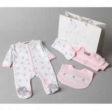 V20985: Baby Girls Mouse 6 Piece Mesh Bag Gift Set (NB-6 Months)