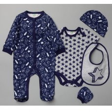 V20986: Baby Boys Stars 6 Piece Mesh Bag Gift Set (NB-6 Months)