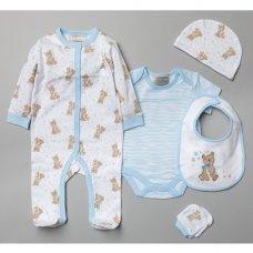 V20990: Baby Boys Bears 6 Piece Mesh Bag Gift Set (NB-6 Months)