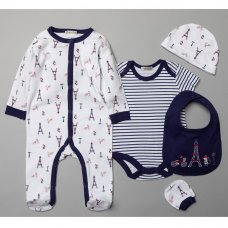 V20991: Baby Boys Paris 6 Piece Mesh Bag Gift Set (NB-6 Months)