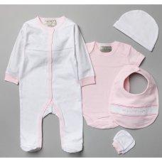 V20995: Baby Girls Bows 6 Piece Mesh Bag Gift Set (NB-6 Months)