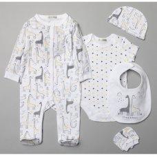 V20996: Baby Unisex Giraffe 6 Piece Mesh Bag Gift Set (NB-6 Months)