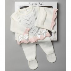V21009-Cream: Baby Girls Knitted 3 Piece Outfit In A Gift Box (0-3 Months)