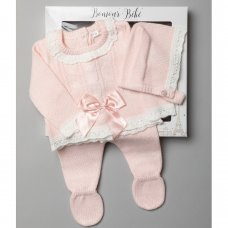 V21010-Pink: Baby Girls Knitted 3 Piece Outfit In A Gift Box (NB-6 Months)