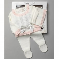 V21010-Cream: Baby Girls Knitted 3 Piece Outfit In A Gift Box (NB-6 Months)