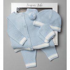 V21013-Sky: Baby Knitted 4 Piece Outfit In A Gift Box (NB-6 Months)
