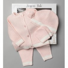 V21013:-Pink Baby Girls Knitted 4 Piece Outfit In A Gift Box (NB-6 Months)