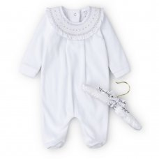 V21024: Baby Unisex Velour All In One With Smocking Collar On A Satin Padded Hanger (0-6 Months)