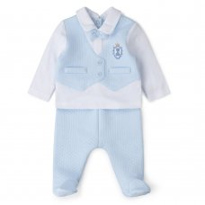 V21065: Baby Boys Quilted 2 Piece Outfit (0-9 Months)