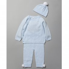 V21091: Baby Boys Cable Knitted 3 Piece Outfit (0-12 Months)