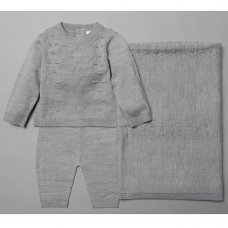 V21094: Baby Grey Knitted 3 Piece Shawl Set (0-9 Months)
