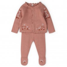 V21099: Baby Girls Knitted 2 Piece Outfit With Embroidery (0-12 Months)