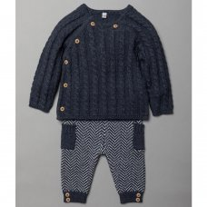 V21101: Baby Boys Navy Cable Knit 2 Piece Outfit (0-12 Months)