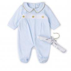V21121: Baby Boys Smocked Velour All In One On A Satin Padded Hanger (0-6 Months)