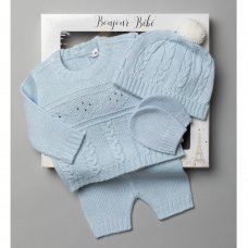 V21123-Sky: Baby Knitted 4 Piece Outfit In A Gift Box (NB-6 Months)