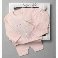 V21123-Pink: Baby Knitted 4 Piece Outfit In A Gift Box (NB-6 Months)