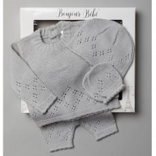 V21124-Grey: Baby Knitted 3 Piece Outfit In A Gift Box (NB-6 Months)