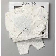 V21124-Cream: Baby Knitted 4 Piece Outfit In A Gift Box (NB-6 Months)