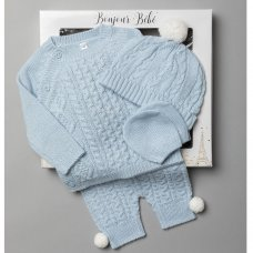V21125-Sky: Baby Knitted 4 Piece Outfit In A Gift Box (NB-6 Months)