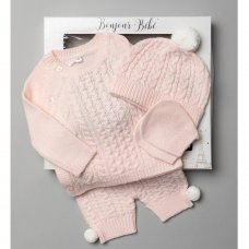 V21125-Pink: Baby Knitted 4 Piece Outfit In A Gift Box (NB-6 Months)