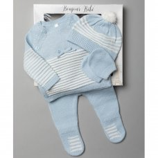 V21126-Sky: Baby Knitted 4 Piece Outfit In A Gift Box (NB-6 Months)