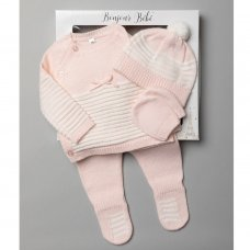 V21126-Pink: Baby Knitted 4 Piece Outfit In A Gift Box (NB-6 Months)