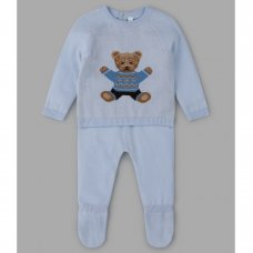 V21147: Baby Boys Bear Knitted 2 Piece Outfit (0-9 Months)