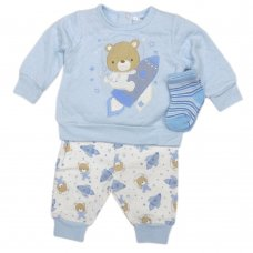 V21211: Baby Boys Space Bear Quilted Top, Jog Pant & Socks Outfit  (0-12 Months)