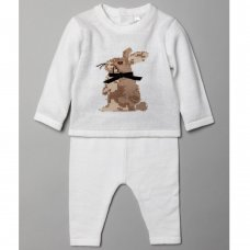 V21241: Baby Unisex Bunny  Knitted 2 Piece Outfit (0-9 Months)