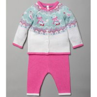 V21243: Baby Girls Duck Fairisle Cardigan & Trouser Outfit (0-18 Months)