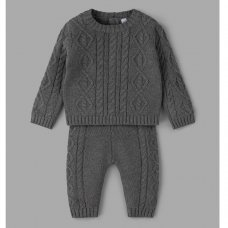 V21248: Baby Boys Cable Knit 2 Piece Outfit (0-12 Months)