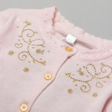 V21250: Baby Girls Lurex Embroidery  Knitted 2 Piece Outfit (0-12 Months)