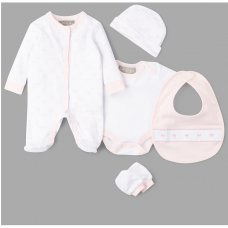 V21472: Baby Girls  Bow 6 Piece Mesh Bag Gift Set (NB-6 Months)