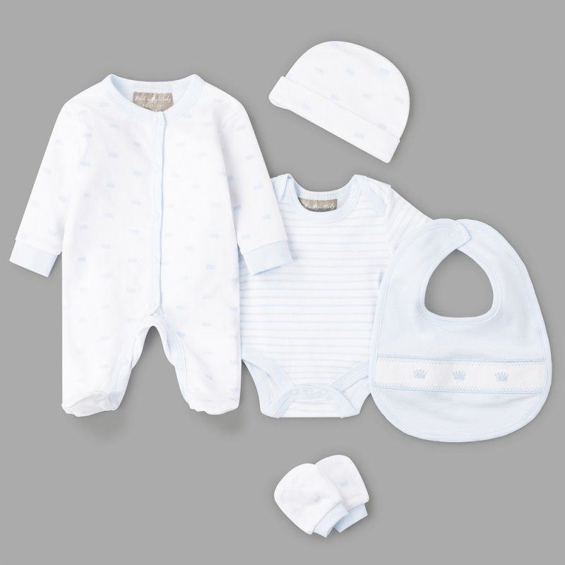 V21476: Baby Boys Crown 6 Piece Mesh Bag Gift Set (NB-6 Months)