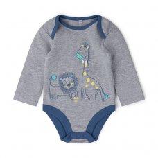 V21551:  Baby Boys Animal Print Bodysuit, Trouser & Bib Outfit (0-9 Months)