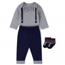 V21552:  Baby Boys Bowtie Bodysuit, Trouser & Sock Outfit (0-12 Months)