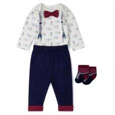 V21553:  Baby Boys Bowtie Bodysuit, Trouser & Sock Outfit (0-12 Months)