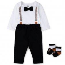 V21554:  Baby Boys Bowtie Bodysuit, Trouser & Sock Outfit (0-12 Months)