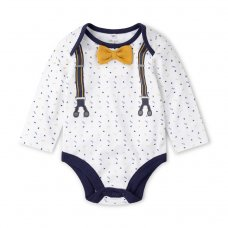 V21558:  Baby Boys Bowtie Bodysuit, Trouser & Sock Outfit (0-12 Months)