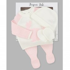 V21584: Baby Girls Bunny Knitted 4 Piece Outfit In A Gift Box (NB-6 Months))