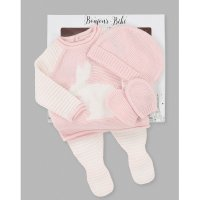 V21584: Baby Girls Bunny Knitted 4 Piece Outfit In A Gift Box (NB-6 Months)